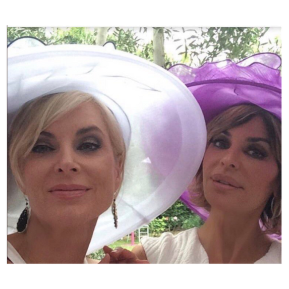 lisa rinna and eileen davidson wearing large hats