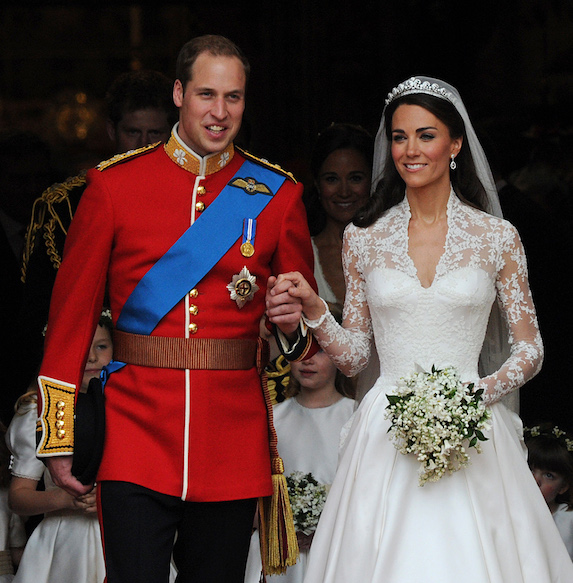Prince William and Kate Middleton on their wedding day in full dress