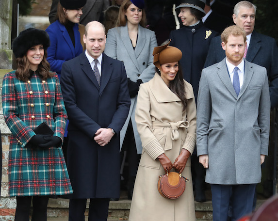 Kate Middleton, Prince William, Meghan Markle, Prince Harry and others are photographed attending Christmas Day Church service at Church of Saint Mary Magdalene
