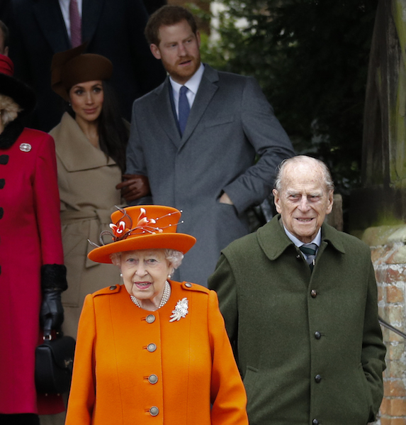 The royal family and Meghan Markle, photographed leaving church on Christmas Day
