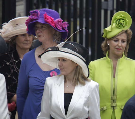 Female guests of William and Kate's 2011 wedding attend wearing hats