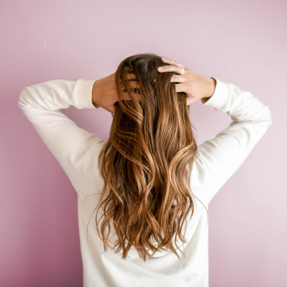 Woman with long shiny hair