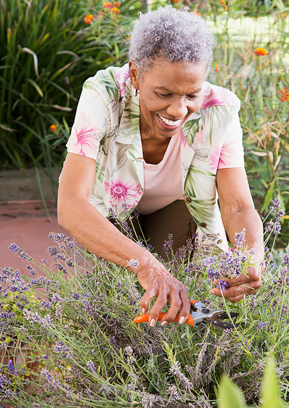 Woman gardening after retiring