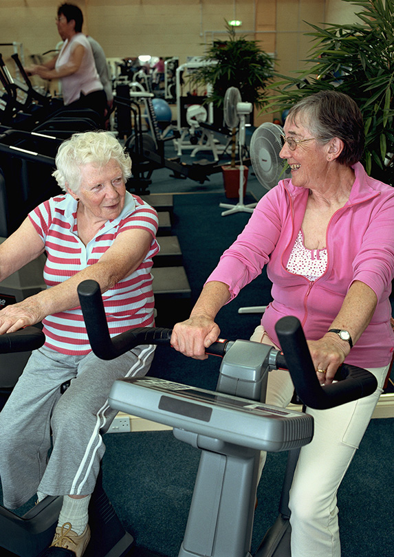 Retirees working out
