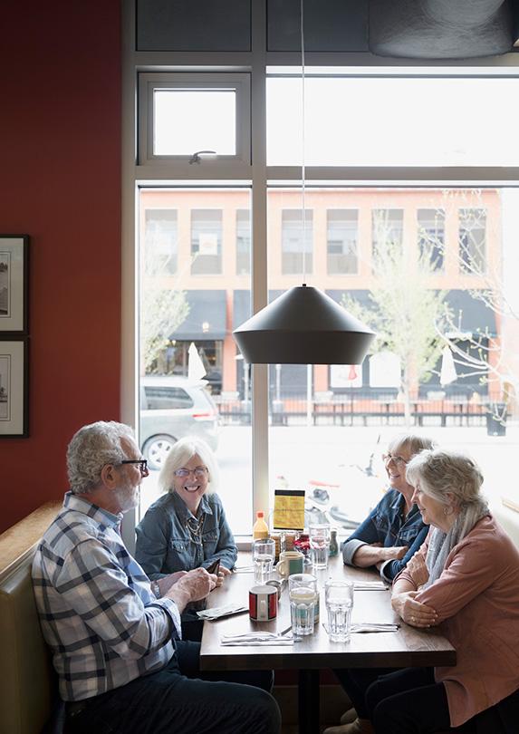 Retirees having lunch