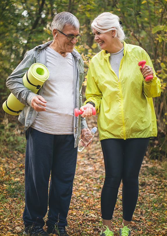 Retirees exercising to stay healthy