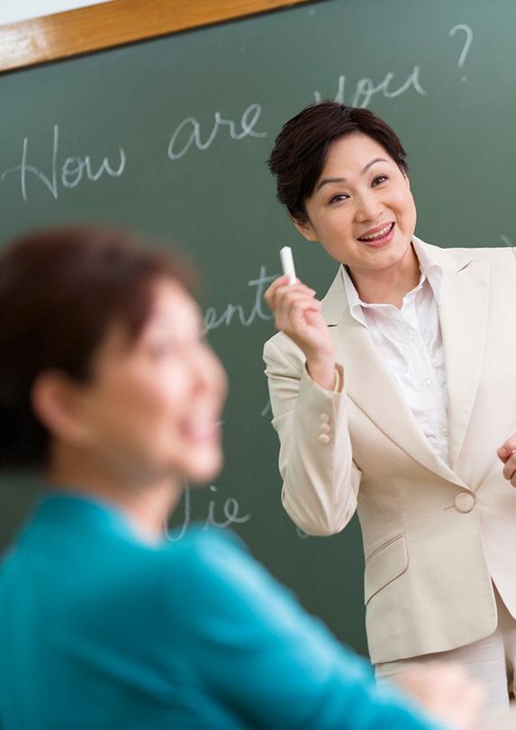 Woman teaching English