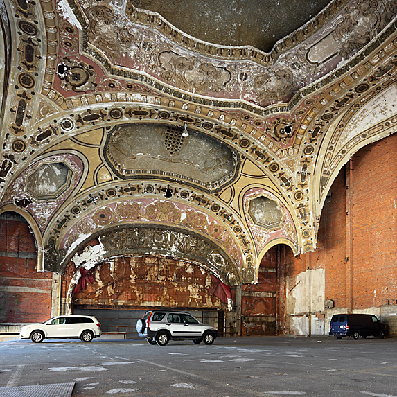 Interior of abandoned theatre, now a car park