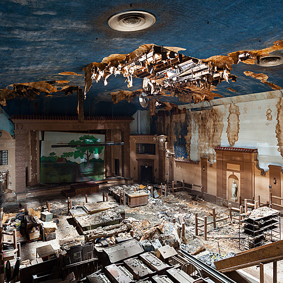Interior of abandoned theatre in Texas