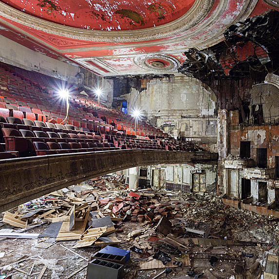 Interior of abandoned theatre in New Jersey