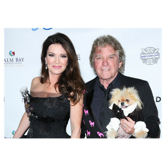 lisa vanderpump and ken todd pose with dog giggy