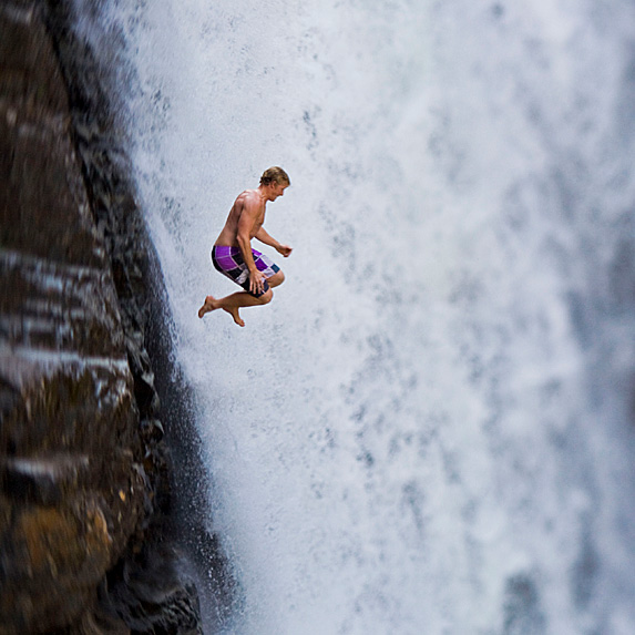 Man cliff-jumping