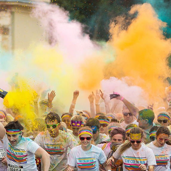 People on a colour run