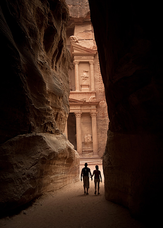 Man and woman entering the lost city of Petra