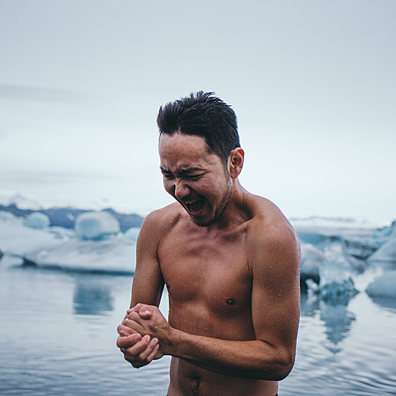 Man just out of frigid waters