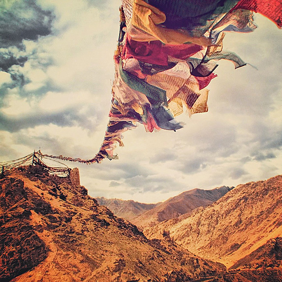 Prayer flags in mountain region