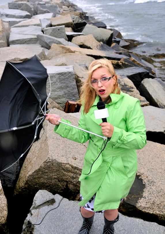 Meteorologist outside