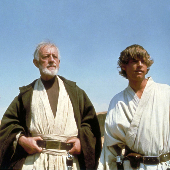 Alec Guinness and Mark Hamill on the set of Star Wars