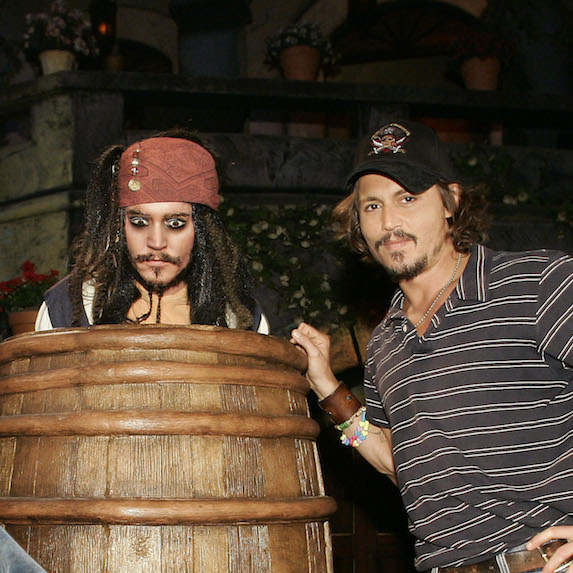 Johnny Depp poses with animatronic Captain Jack Sparrow at Disneyland's Pirates of the Caribbean ride