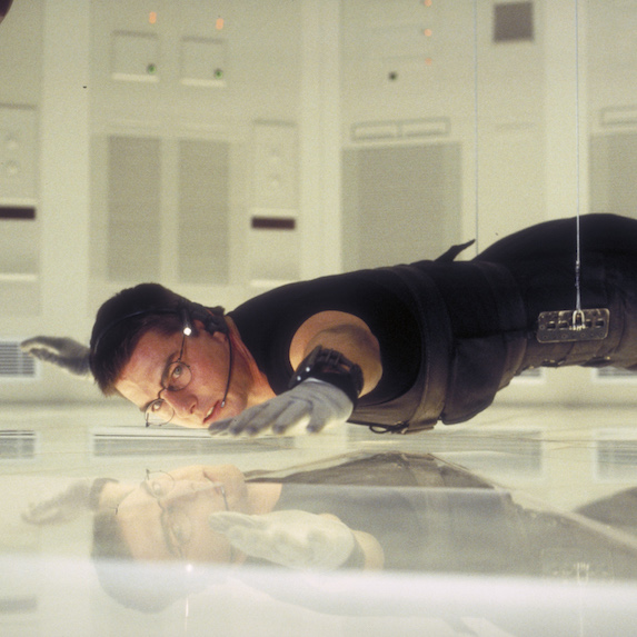 Tom Cruise in scene from Mission: Impossible