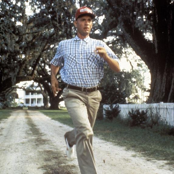 Tom Hanks running in scene from Forrest Gump