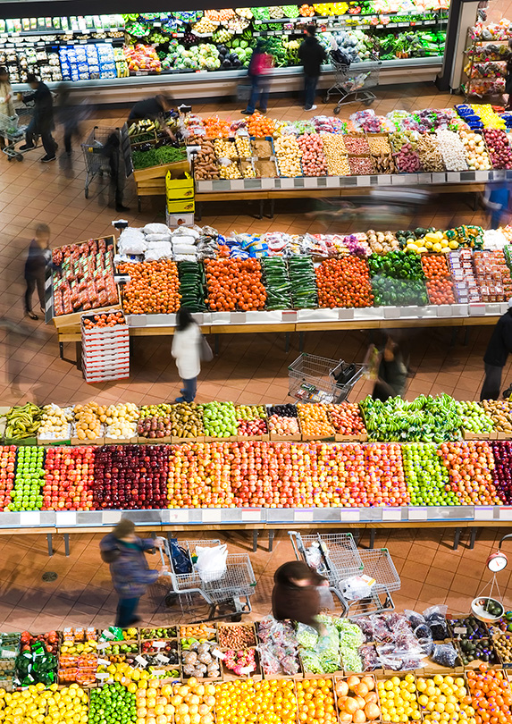 Produce section in a supermarket