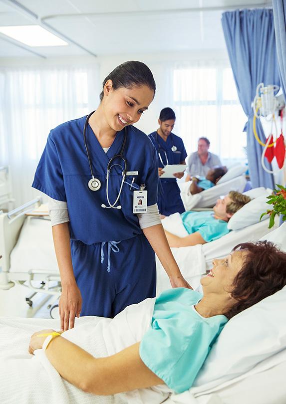 Registered Nurse greets patient