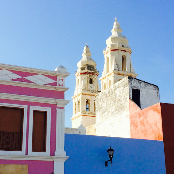 View of church in Campeche, Mexico