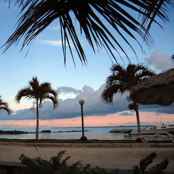 sunset on a tropical beach in Corozal, Belize