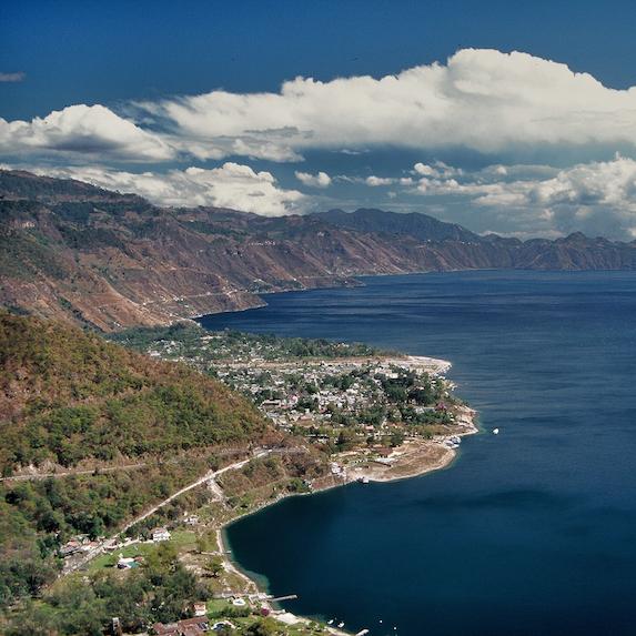 Aerial view of Lake Atitlan in Guatemala