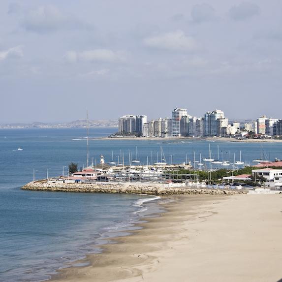 Beach and city view of Salinas, Ecuador
