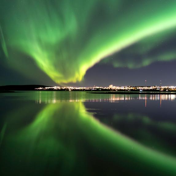 Northern Lights over Reykjavik, Iceland