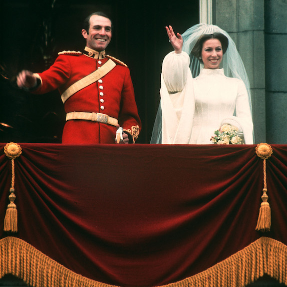 Princess Anne and Captain Mark Phillips on their wedding day