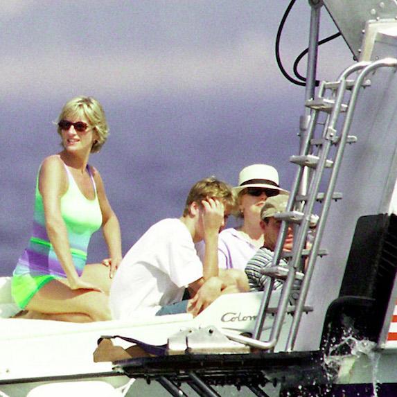 Princess Diana on Dodi Fayed's yacht in St. Tropez