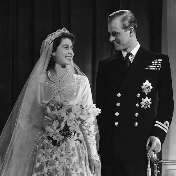 Queen Elizabeth and Prince Phillip at their wedding