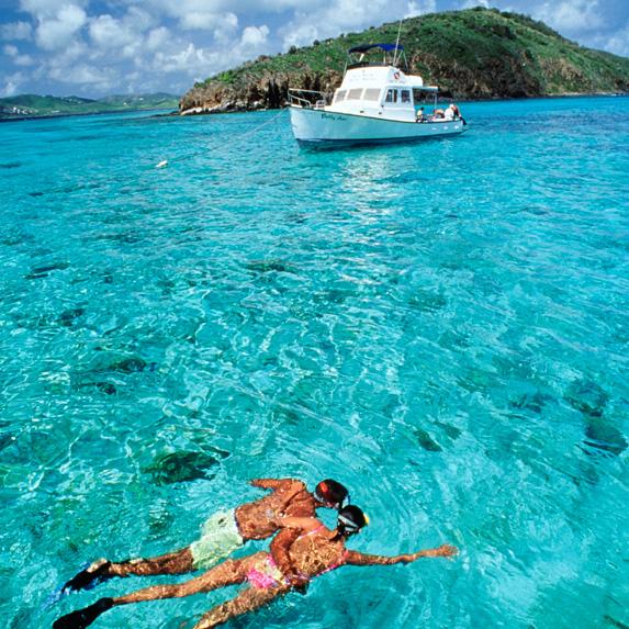 People njoying the water near St. Croix, U.S. Virgin Islands