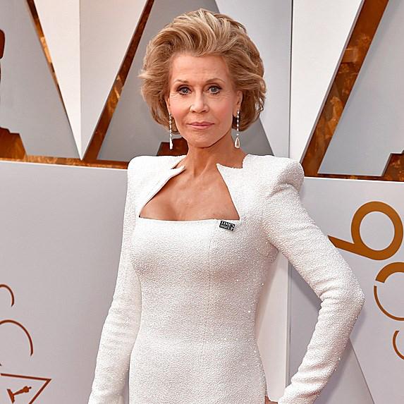 Jane Fonda in gorgeous white dress