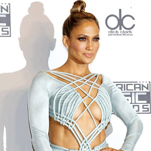 Jennifer Lopez on red carpet in blue dress