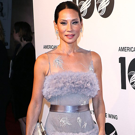 Lucy Liu purple dress