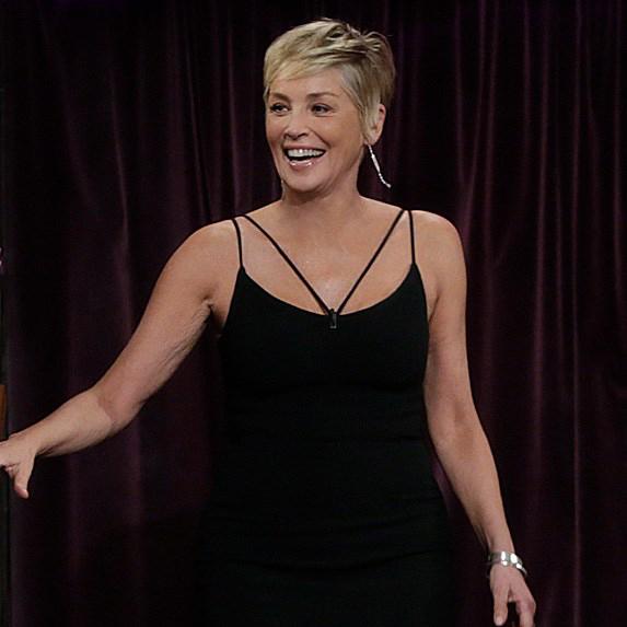 Sharon Stone wearing black dress