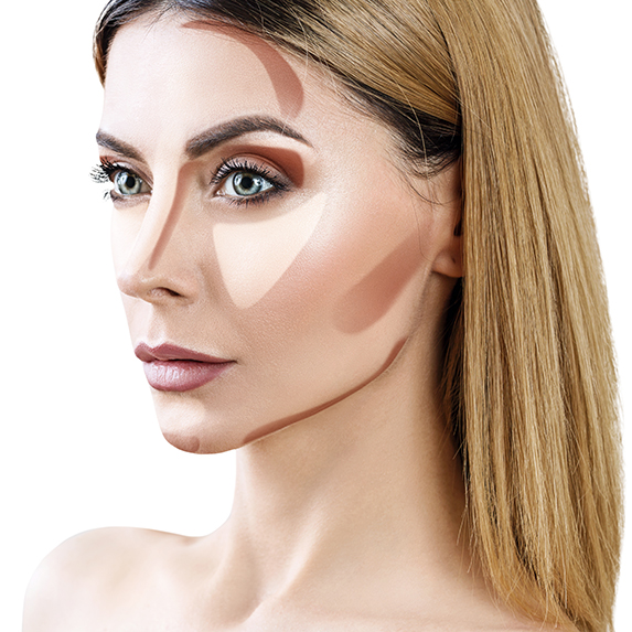 dramatic too low contour on model with light skin