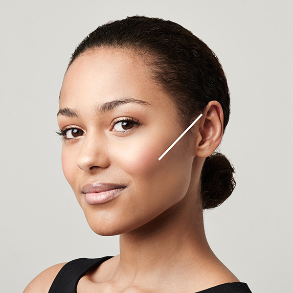 ideal contour placement line on woman with dark skin