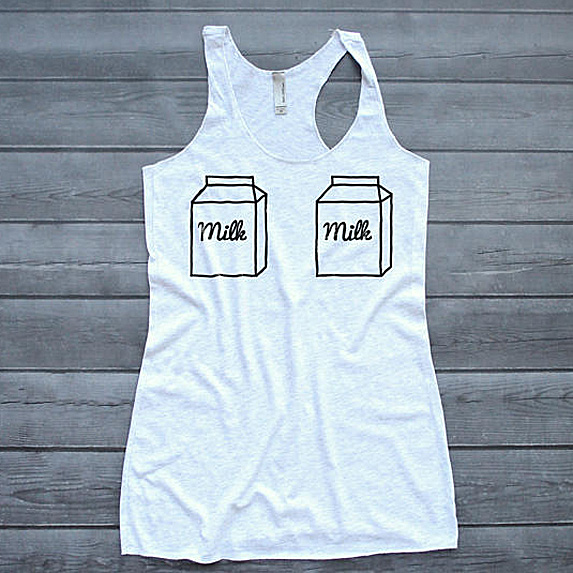 Tank top with two cartons of milk on the chest