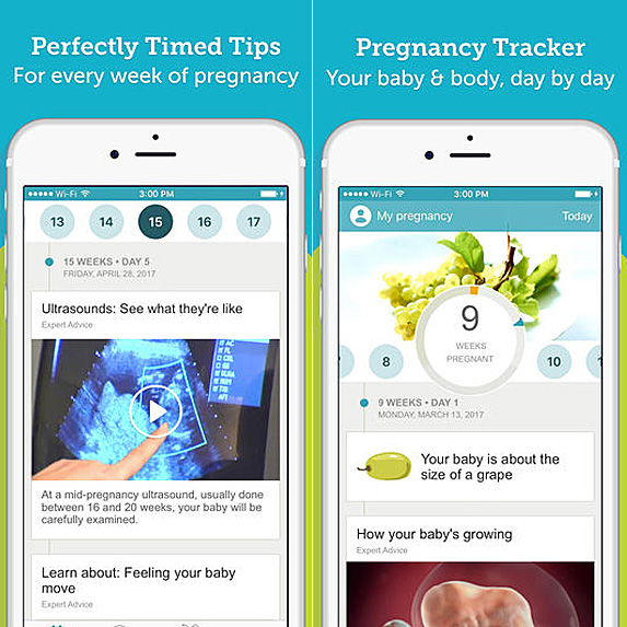 Screenshots of pregnancy and baby app