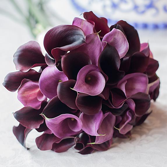 Closeup of purple bridal bouquet