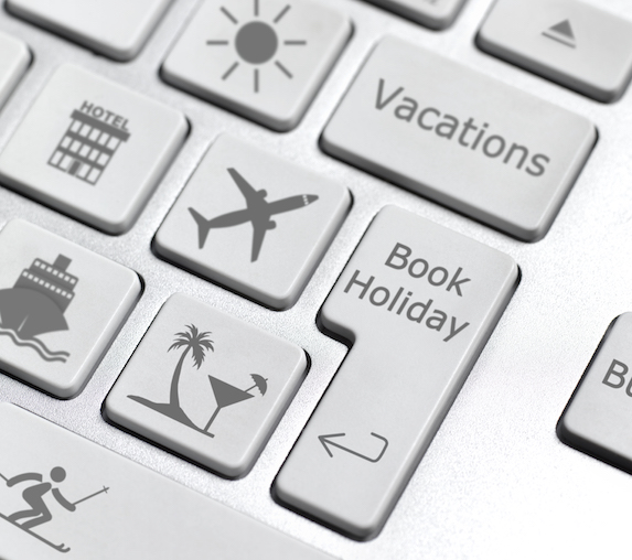 Computer keyboard with modified keys with a vacation theme