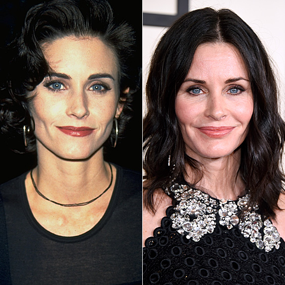 Courteney Cox in 1994 and 2015