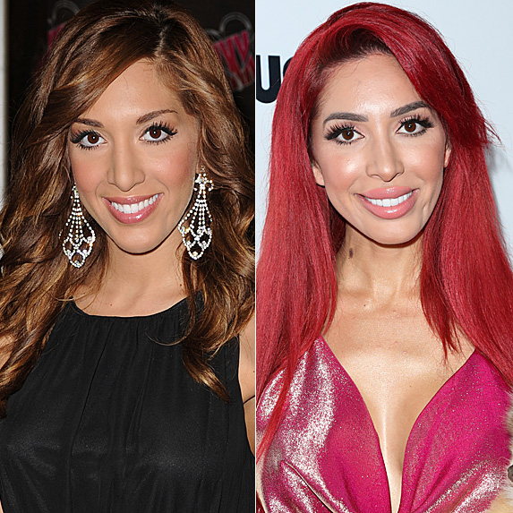 Farrah Abraham in 2013 and 2018