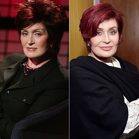 Sharon Osbourne in 2002 and 2018