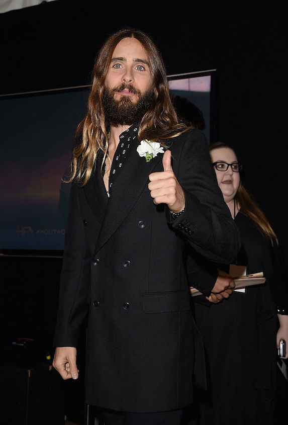 Jared Leto with long hair and beard